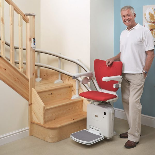 2000 stair lift style seat cherry red light gray handicare