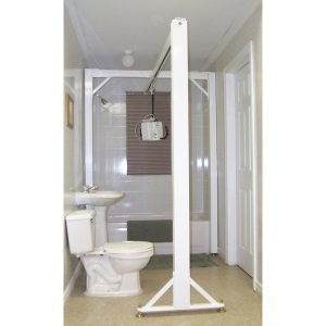cross shape 3 post bathroom ceiling lift system handicare
