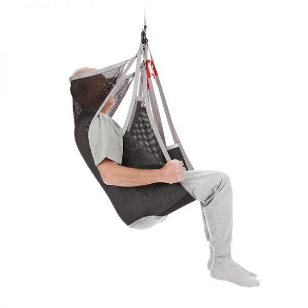 flexible sling divided legs polyester net side view handicare