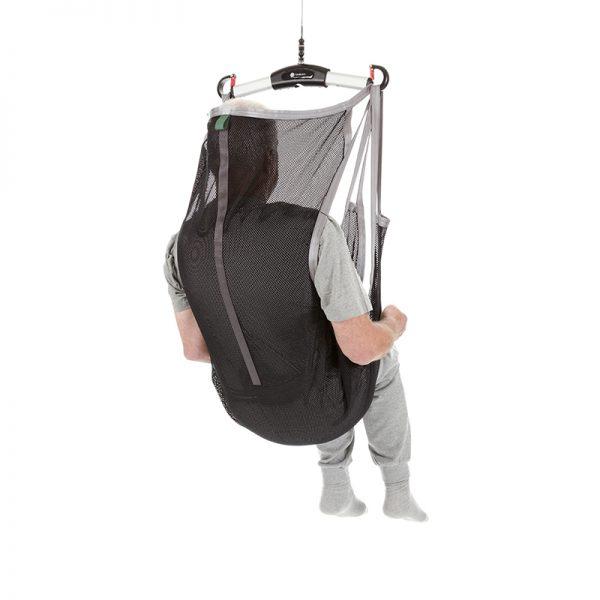 flexible sling undivided legs polyester net back view handicare