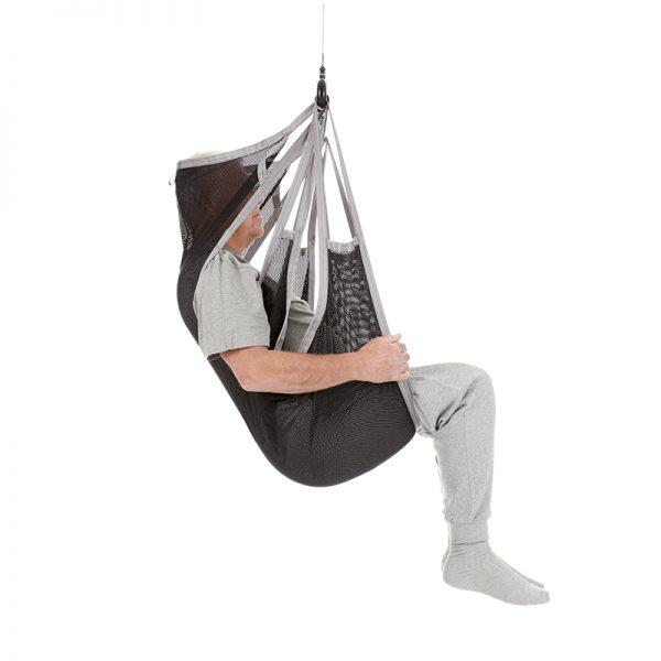 flexible sling undivided legs polyester net side view handicare